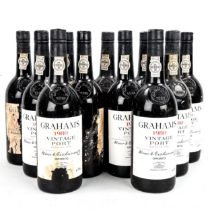 11 bottles of W & J Graham's 1980 Vintage Port, in original wooden box. From local private cellar,