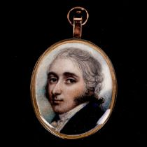 Attributed to Andrew Plimer (1763 - 1837), miniature painted portrait on ivory of a gentleman