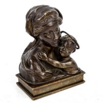 A patinated bronze sculpture, Madonna with infant Christ, unsigned, early 20th century, height 9cm