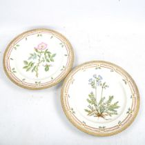 Royal Copenhagen, pair of botanical porcelain cabinet plates, hand painted decoration in gilded