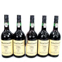 5 bottles of W & J Graham's 1986, Late Bottled Vintage Port. From a local private cellar
