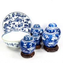A group of Chinese blue and white porcelain items, comprising a bowl, diameter 26cm (restored), a