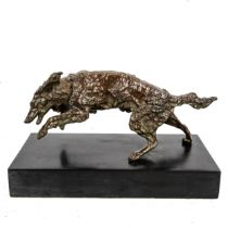 Attributed to Jules Moigniez, patinated bronze sculpture, running Setter dog, unsigned, on marble