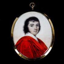 Miniature painted portrait on ivory of a gentleman wearing a red cloak, late 18th/early 19th