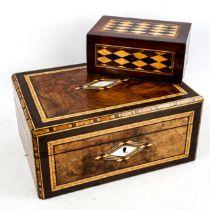 A Tunbridge Ware parquetry inlaid jewel box, late 19th century, length 16.5cm, with original key,