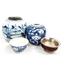 A group of Oriental items, comprising 2 blue and white ginger jars, largest height 16cm, a floral
