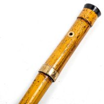 A 19th century bamboo sword stick, 9ct gold mount, hallmarks for 1871, with tortoiseshell and gold