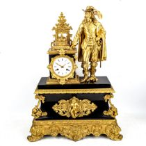 A large late 19th/early 20th century gilt-bronze and slate figural 8-day mantel clock, by Desorey of
