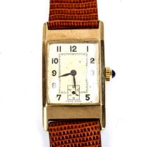 An Art Deco 9ct gold mechanical wristwatch, silvered dial with Arabic numerals and subsidiary