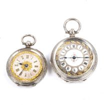 2 Swiss silver-cased open-face keywind fob watches, floral gilded dials with engraved cases, largest