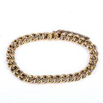 An Edwardian 15ct gold hollow curb link bracelet, bracelet length 18cm, 14.3g No damage or repair, a