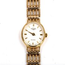 ROTARY - a lady's 9ct gold quartz bracelet watch, white dial with gilt baton hour markers and 9ct