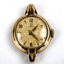 OMEGA - a lady's Vintage 9ct gold mechanical wristwatch head, ref. 77711, circa 1950, silvered