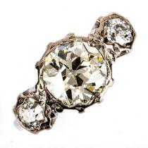 A fine 3-stone diamond ring, principal old cut diamond approx 2.08ct, colour approx L/M, clarity