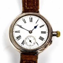 A First World War Period silver-cased Officer's Borgel mechanical wristwatch, white enamel dial with