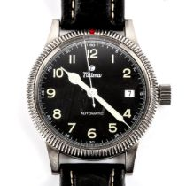 TUTIMA - a stainless steel Flieger automatic wristwatch, ref. 637-01, black dial with Arabic