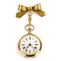 A 12.5ct gold enamel lapel fob watch, white enamel dial with Roman numeral hour markers, gilded