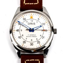 ORIS - a Vintage stainless steel mechanical wristwatch, silvered dial with outer minutes ring and