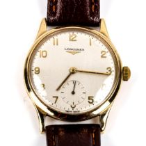 LONGINES - a Vintage 9ct gold mechanical wristwatch, ref. 13322, circa 1964, silvered dial with gilt