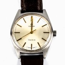 OMEGA - a Vintage stainless steel Geneve mechanical wristwatch, ref. 135.041, circa 1969, silvere