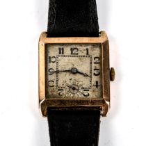 An Art Deco 9ct gold mechanical wristwatch, silvered dial with Deco Arabic numerals, blued steel