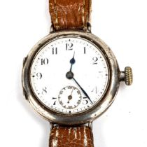 TALIS WATCH CO - an early 20th century silver-cased Officer's mechanical wristwatch, white enamel