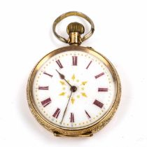A Swiss 14ct open-face keyless-wind fob watch, white enamel dial with red Roman numeral hour markers