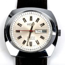 LANCO - a Vintage stainless steel automatic wristwatch, silvered dial with baton hour markers and