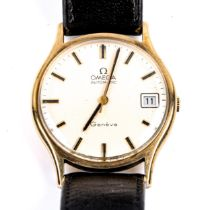 OMEGA - a Vintage 9ct gold Geneve automatic wristwatch, ref. 1625422, silvered dial with baton