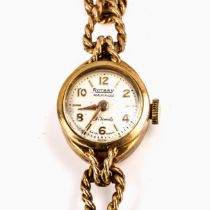 ROTARY - a lady's 9ct gold Maximus mechanical bracelet watch, silvered dial with Arabic numerals and