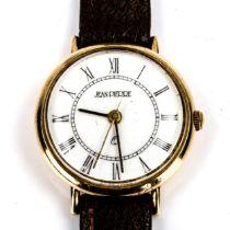 JEAN PIERRE - a Vintage 9ct gold quartz wristwatch, white dial with Roman numeral hour markers, case