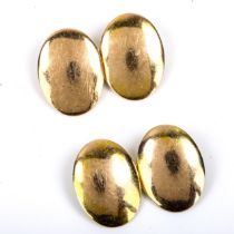A pair of Victorian 15ct gold oval bombe cufflinks, possibly by John Taylor, hallmarks London