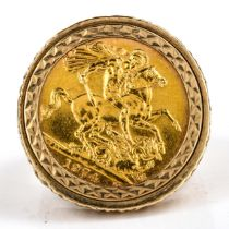 An Elizabeth II 1974 gold full sovereign coin, in heavy 9ct gold textured ring mount, setting height