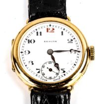 ZENTIH - a lady's early 20th century 18ct gold mechanical wristwatch, white enamel dial with