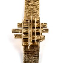 BUECHE GIROD - a lady's Vintage 9ct gold mechanical bracelet watch, circa 1960s, concealed