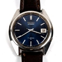 SEIKO - a Vintage stainless steel automatic wristwatch, ref. 7025-8120-P, circa 1970s, blue dial