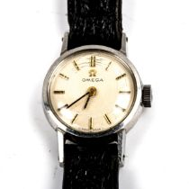 OMEGA - a lady's stainless steel mechanical wristwatch, ref. 511.238, circa 1968, silvered dial with