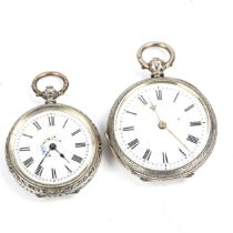 2 Swiss silver-caed open-face keywind fob watches, white enamel dials with Roman numerals and