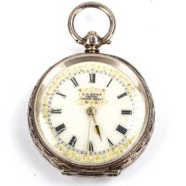 A Swiss silver open-face key-wind fob watch, retailed by C H Moody of Crewe, white enamel dial