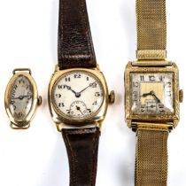 3 x Vintage 9ct gold cased mechanical wristwatches, only smallest working, 71.4g gross (3) Only