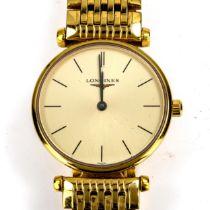 LONGINES - a lady's Vintage gold plated La Grande Classique De Longines quartz bracelet watch,