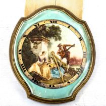 CHEVRON - an unusual gilt-metal oval 8-day timepiece, suspended from ribbon, with printed serenading