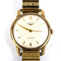 LONGINES - a Vintage 9ct gold automatic bracelet watch, ref. 7004, circa 1960s, silvered dial with