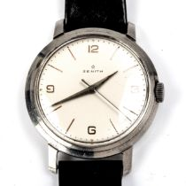 ZENITH - a Vintage stainless steel mechanical wristwatch, silvered dial with quarterly Arabic hour