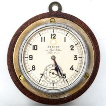 ZENITH - an early 20th century Rolls Royce dashboard clock, silvered dial with Arabic numerals,