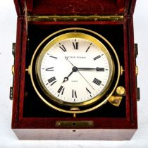 A modern mahogany-cased quartz ship's chronometer, by Matthew Norman, case width 17cm, not currently