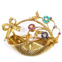 A late 20th century 18ct gold gem-set basket of flowers brooch, pierced basket with ribbon and spray