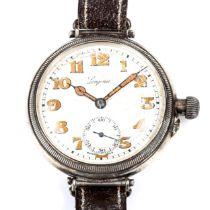 LONGINES - a First World War Period silver Officer's Borgel mechanical wristwatch, circa 1918, white