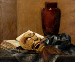G Chambay, oil on canvas, still life with Chinese mask, signed, 50cm x 60cm, unframed Good condition