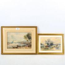 19th century watercolour, Continental harbour scene, 18cm x 26cm, and watercolour, river scene,